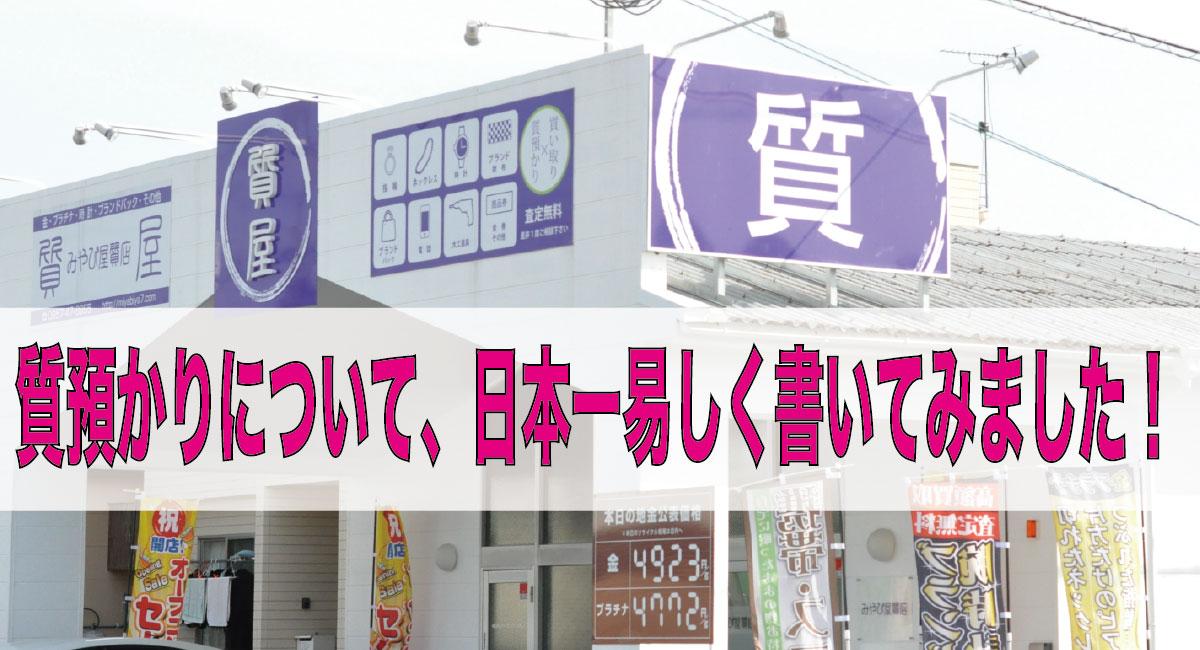 【質入れとは?】質預かりについて、日本一易しく書いてみました!